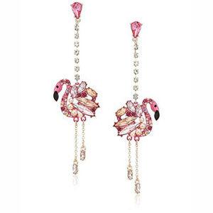 Betsey Johnson Pink Flamingo Crystal Earrings